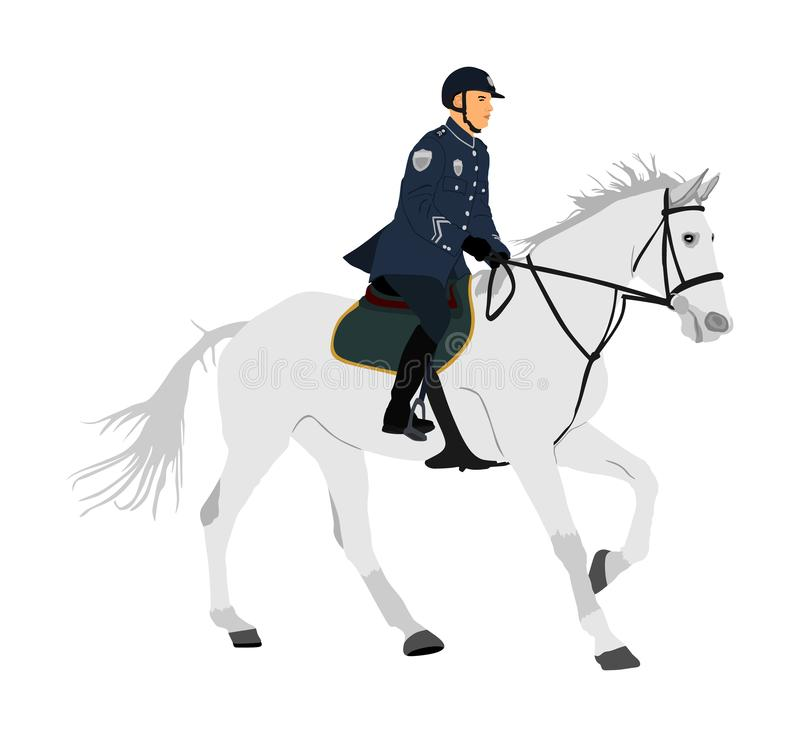 Elegant horse with jockey vector illustration isolated on white background. Police man riding horse. Hippodrome sport event. Police mounted officer for crowd stock illustration
