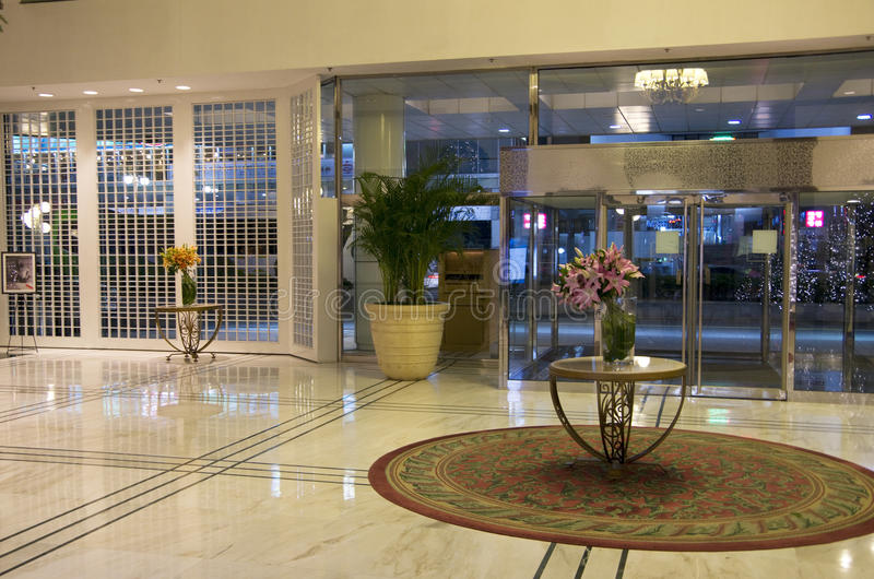 Elegant hotel lobby front stock images