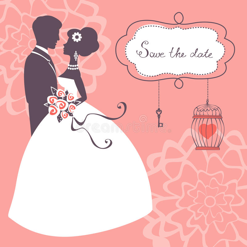 Elegant huwelijkspaar royalty-vrije illustratie