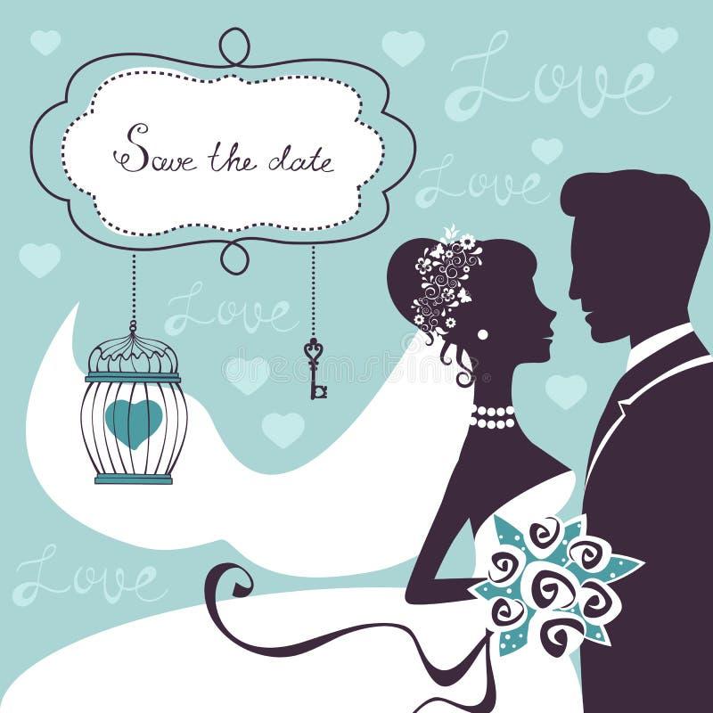Elegant huwelijkspaar in silhouet stock illustratie