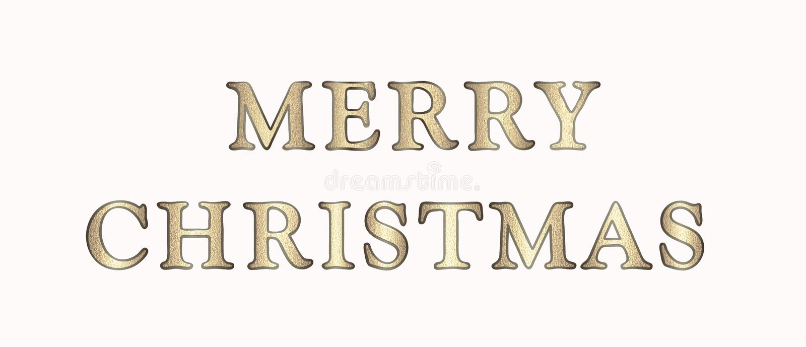 Elegant illustration Merry Christmas in golden-brown tones with glitter text, isolated on white. stock images
