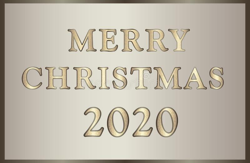 Elegant illustration Merry Christmas 2020 in golden-brown tones with glitter text. stock photos