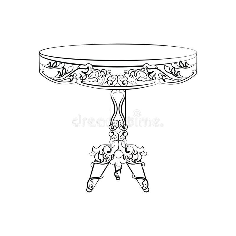Elegant imperialistisk klassisk rund tabell royaltyfri illustrationer