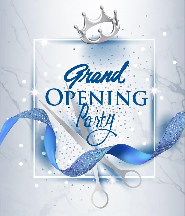 Elegant inbjudankort för storslagen öppning med blått texturerad krullad band- och marmorbakgrund vektor illustrationer