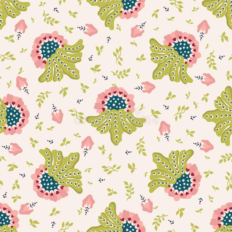Elegant indian floral style pattern. Seamless repeating print. Hand drawn vector royalty free illustration