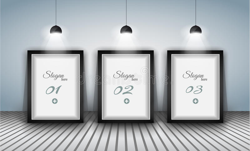 Elegant infographics design template with shopfront elements. Lamp with directional spot lights and panel to past your products vector illustration