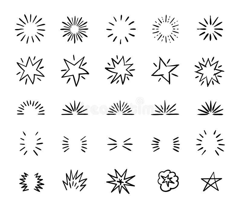 Elegant ink brush circle bursts and whimsical borders. Hand drawn bursting vector decoration stock illustration