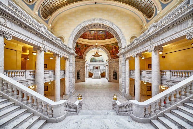Elegant inre av byggnaden för Utah statKapitolium royaltyfri fotografi