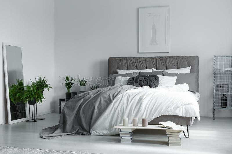 Elegant interior of bedroom. Elegant interior of a monochromatic bedroom with a double bed, and a large mirror reflecting plants stock photography