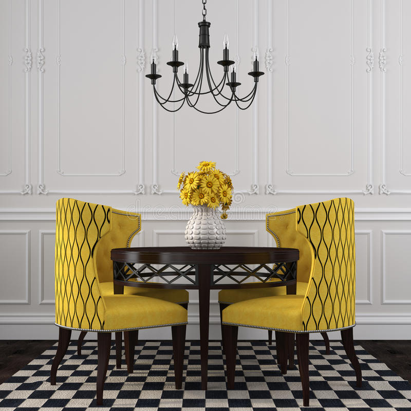 The elegant interior of dining room with yellow chairs stock illustration