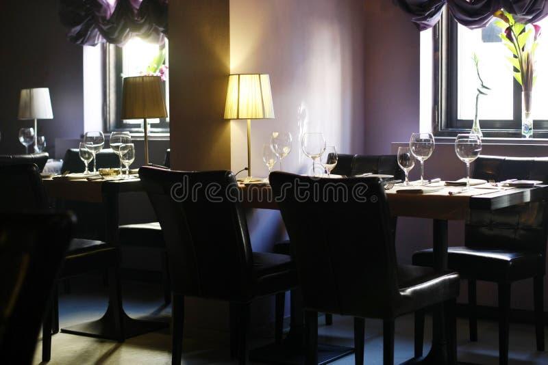 Elegant interior of an empty restaurant stock photo