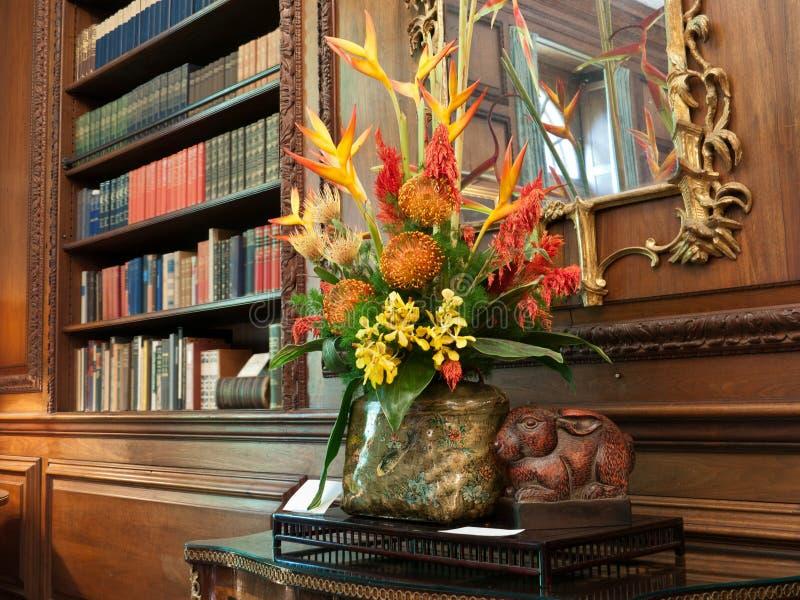Download Elegant Interior With Floral Arrangement Stock Image - Image of luxury, books: 24746347