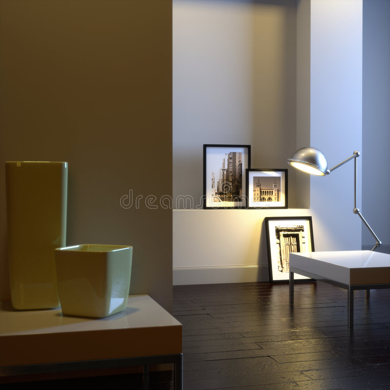 Elegant interior with lamp stock illustration