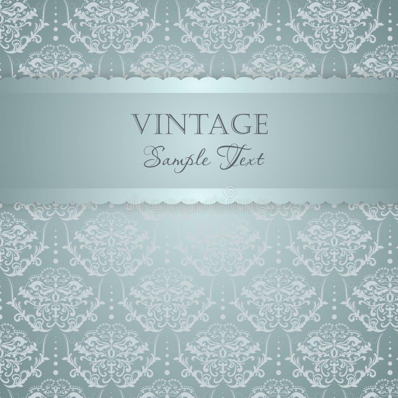 Elegant invitation card. Ornamental silver and blue greeting card vector illustration
