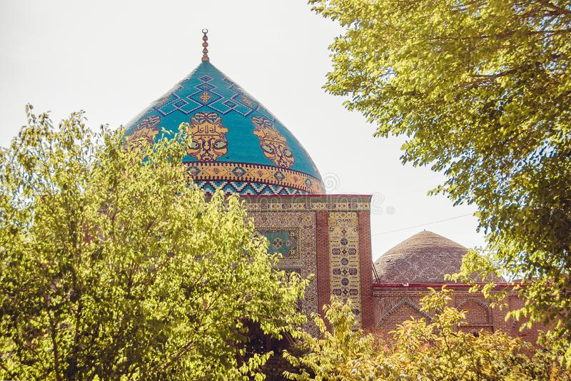 Elegant islamic blue mosque building. Travel to Armenia, Caucasus. Touristic architecture landmark. Sightseeing in Yerevan. City t. Our. Tourism industry. Sunny royalty free stock photos