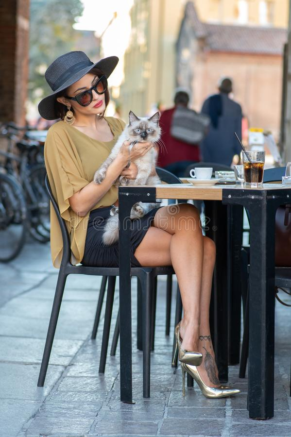 Elegant Italian woman with hat and glasses pets her cats stock photos