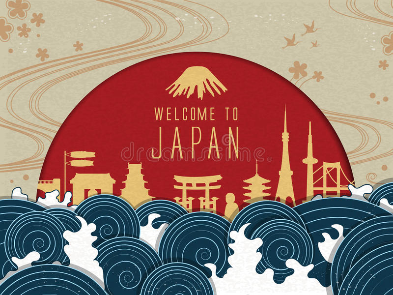Elegant Japan travel poster stock illustration