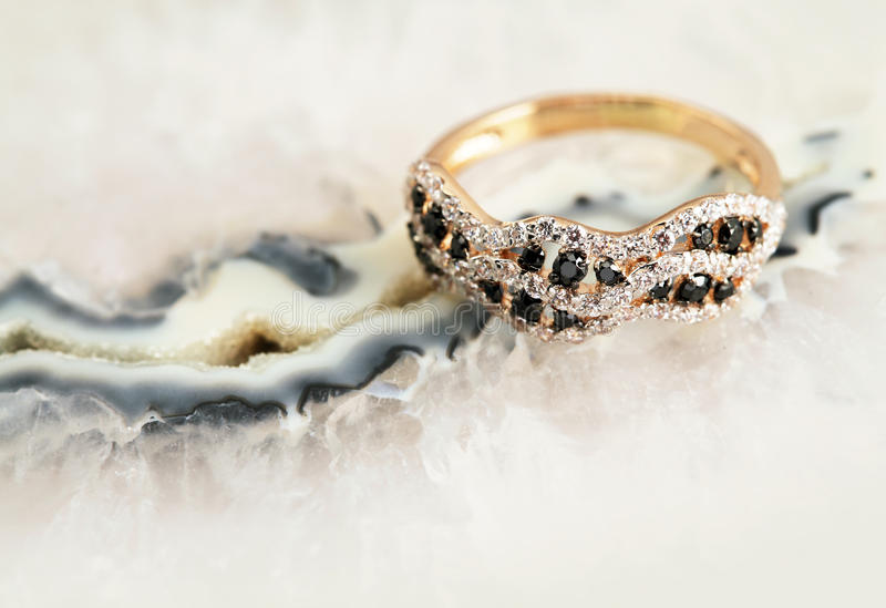 Elegant jewelry ring with brilliants royalty free stock photo