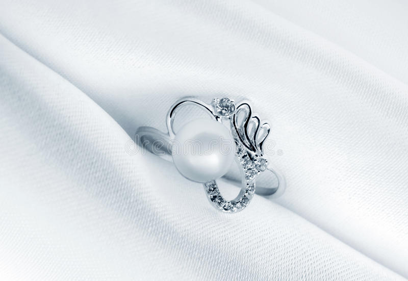 Elegant jewelry ring with jewel pearl stock images