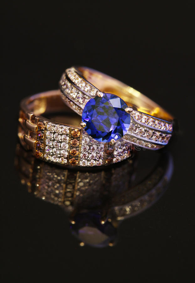 Elegant jewelry rings with brilliants royalty free stock photography
