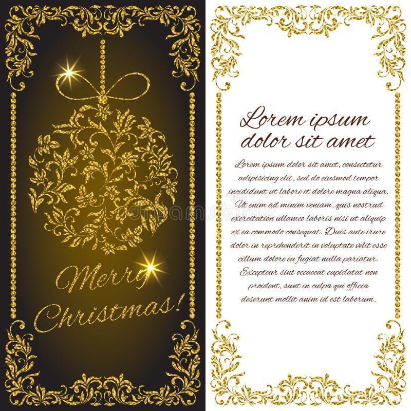 Elegant julvykort: Bollen med guld blänker från en blom- prydnad vektor illustrationer