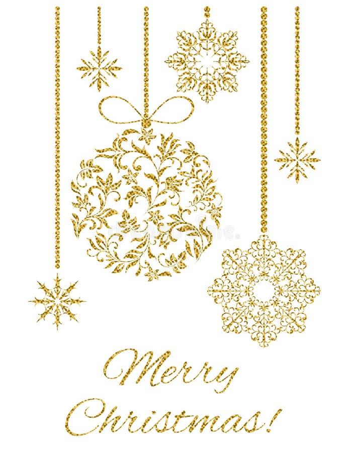 Elegant julvykort: Julgarnering med guld blänker på en vit bakgrund vektor illustrationer