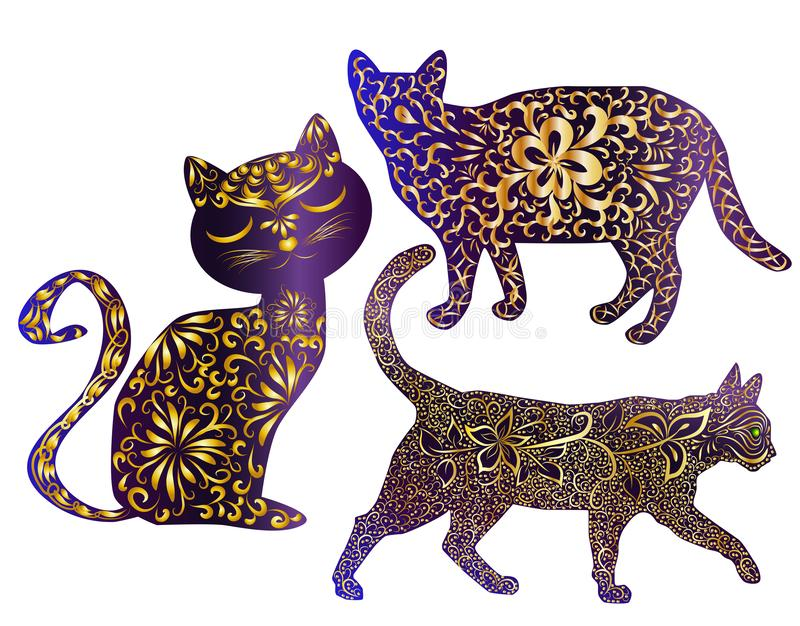 Elegant katt, kontur som hand-målas i indisk stil, tryck, design vektor illustrationer