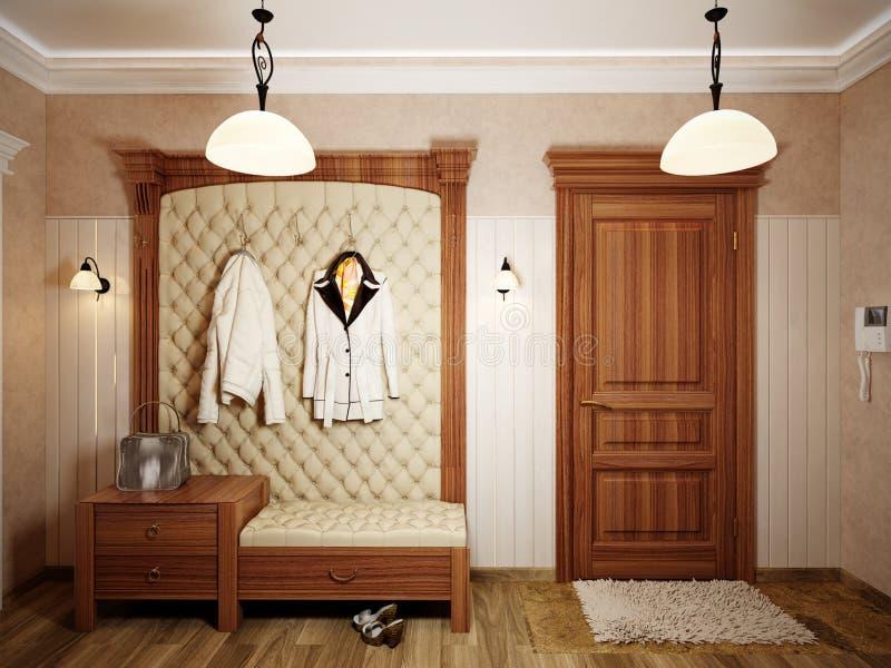 Elegant klassiek zaal binnenlands ontwerp met beige muren stock illustratie