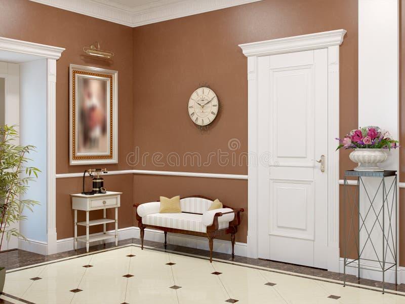 Elegant klassieke en luxueuze zaal binnenlands ontwerp stock illustratie
