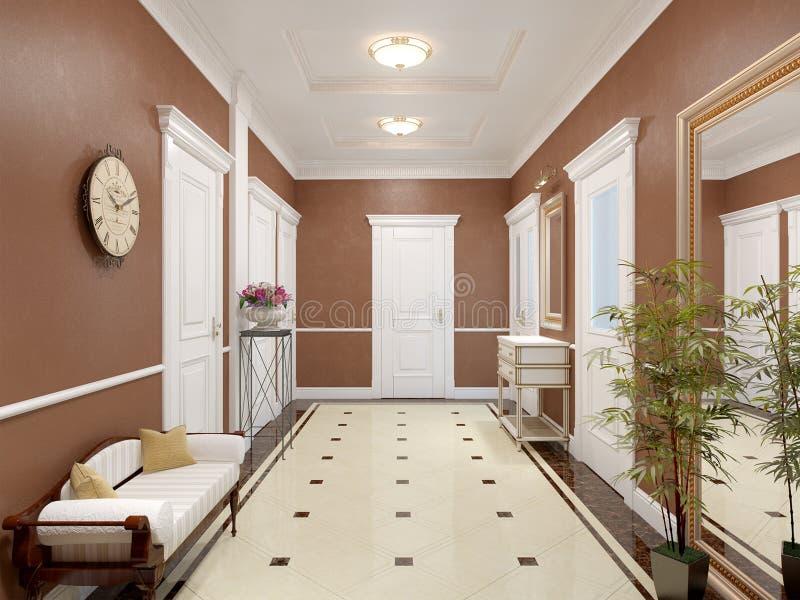 Elegant klassieke en luxueuze zaal binnenlands ontwerp vector illustratie