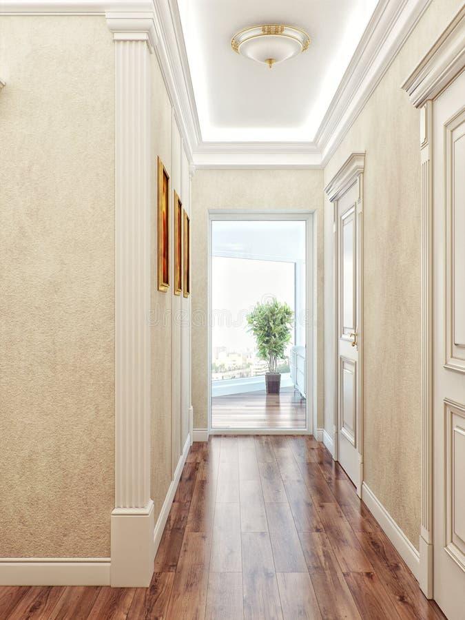 Elegant klassiker och lyxig korridorinredesign med beiga stock illustrationer