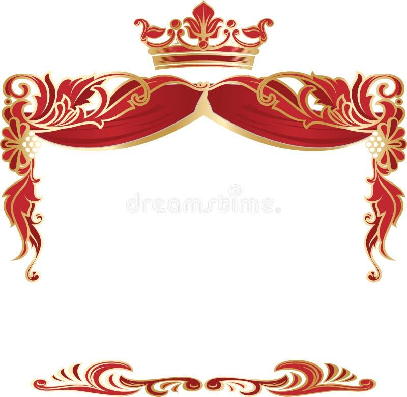 Elegant koninklijk die kader met kroon op witte achtergrond wordt geïsoleerd vector illustratie