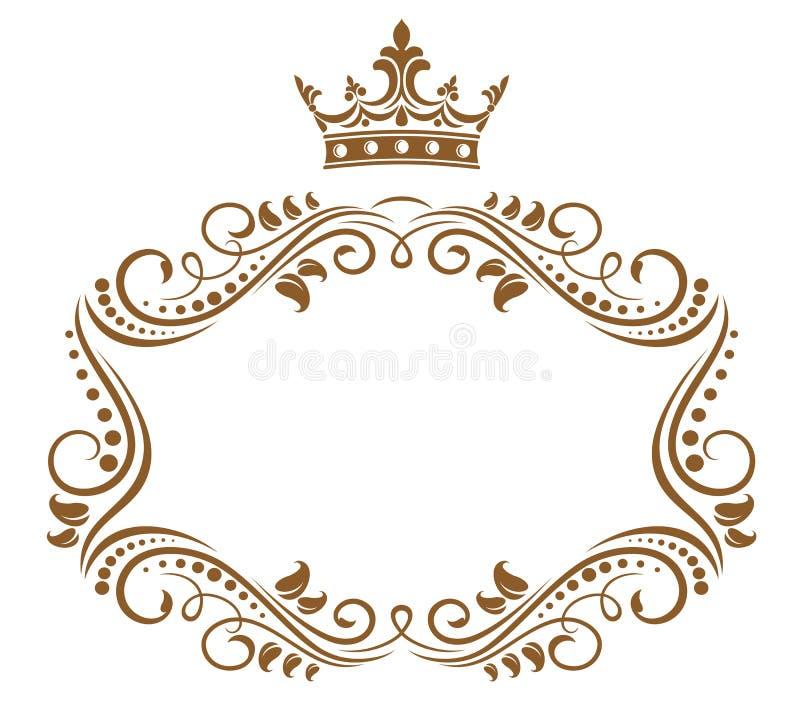 Elegant koninklijk frame met kroon vector illustratie