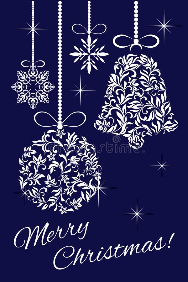 Elegant kort - glad jul! Julpynt från en blom- prydnad vektor illustrationer