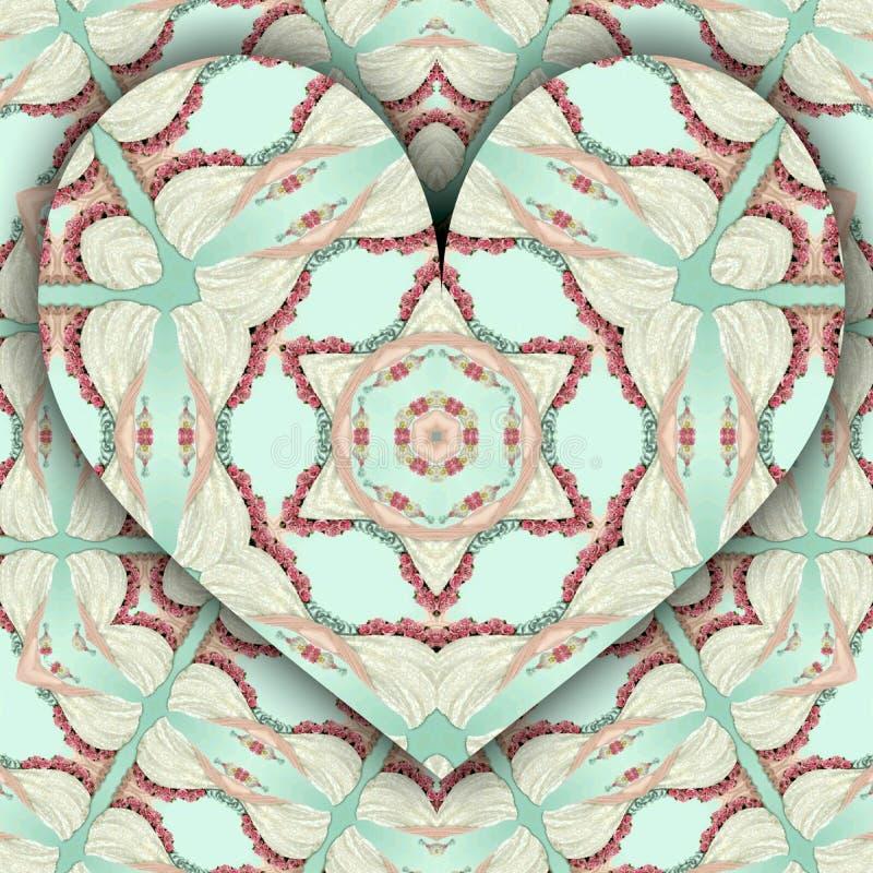 Elegant kort med hjärta för att gifta sig inbjudan, valentindag royaltyfri illustrationer