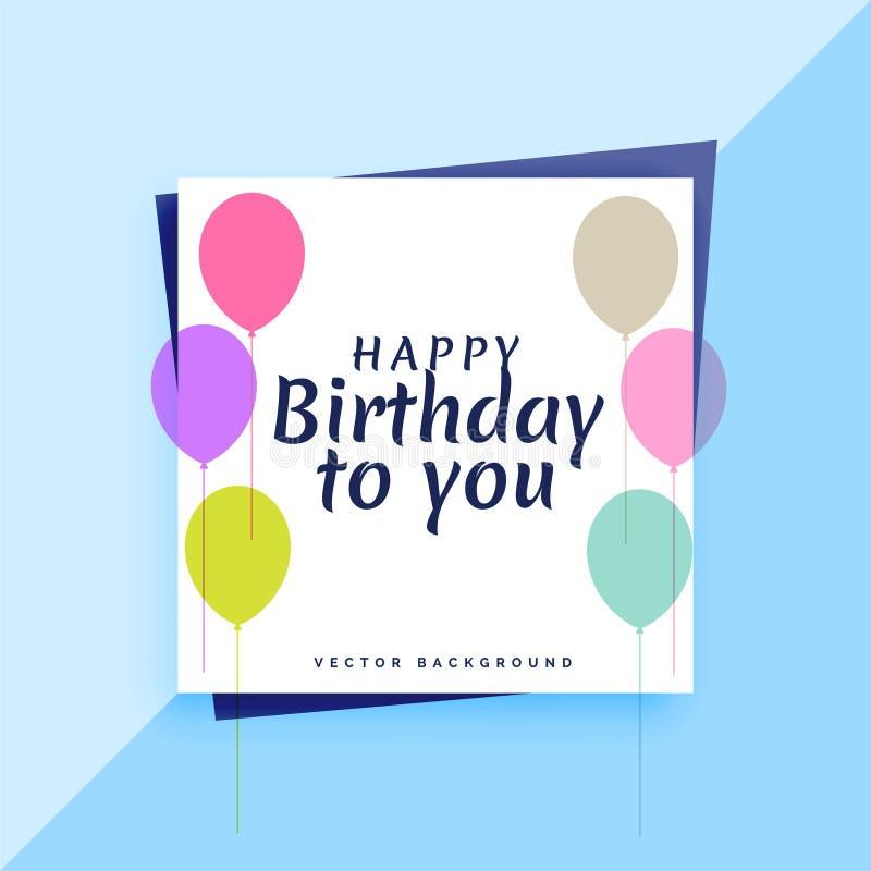 Elegant kortdesign för lycklig födelsedag med färgrika ballonger vektor illustrationer