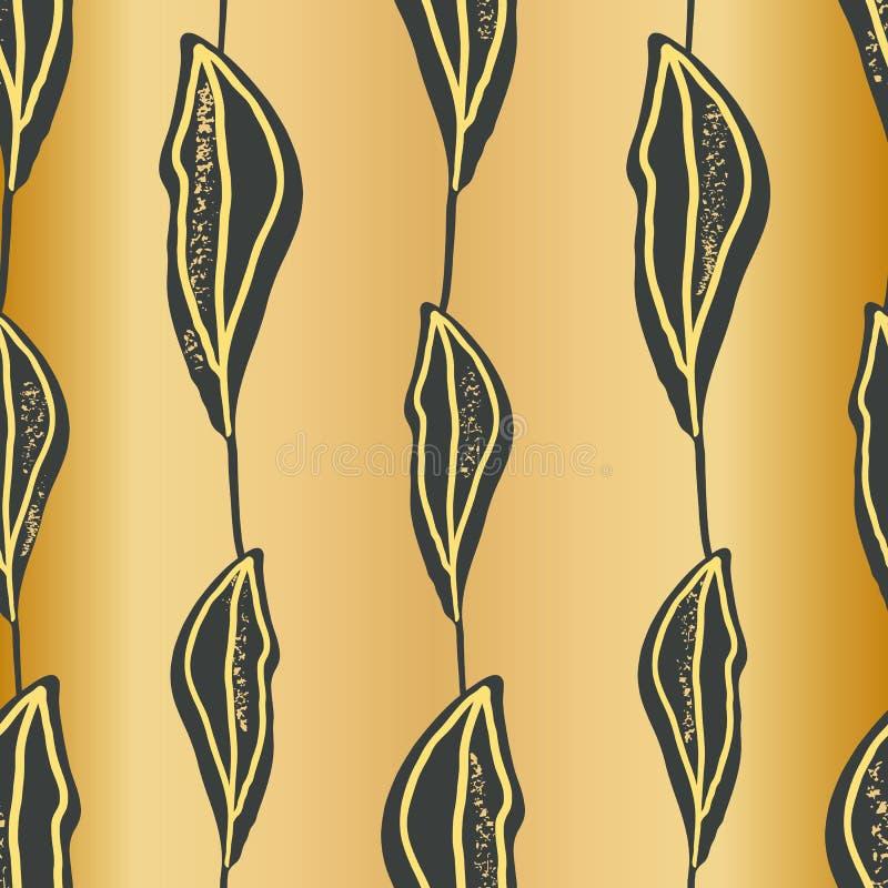 Elegant kritisera handen drog sidor i vertikal geometrisk design på bakgrund för guld- folie Sömlös vektorrepetitionmodell Utmärk stock illustrationer