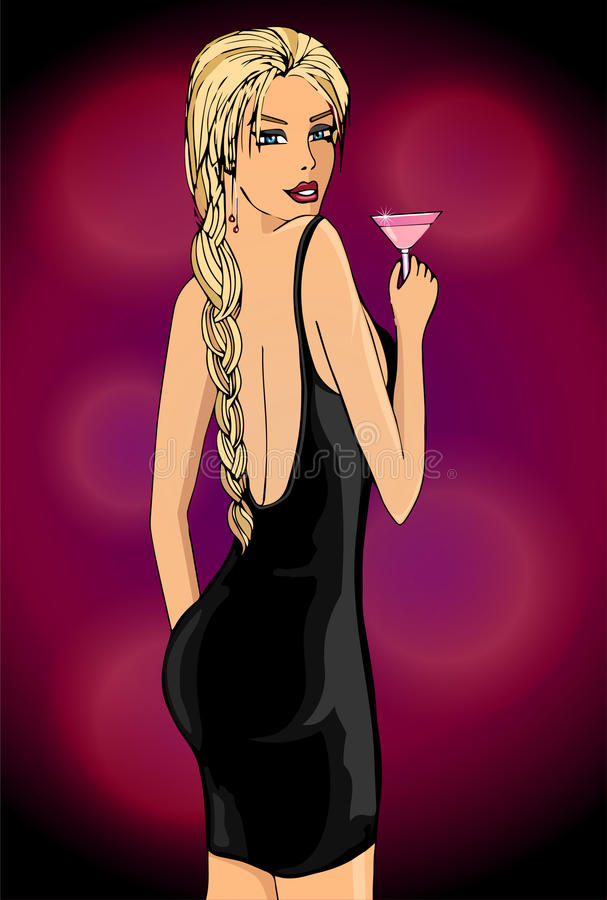 Elegant kvinna med coctailen stock illustrationer