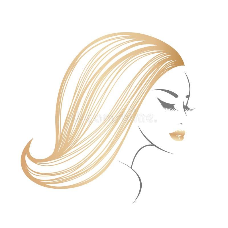 Elegant kvinna med långt blont hår och härlig makeup stock illustrationer