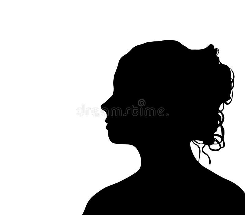 elegant kvinnligprofil royaltyfri illustrationer