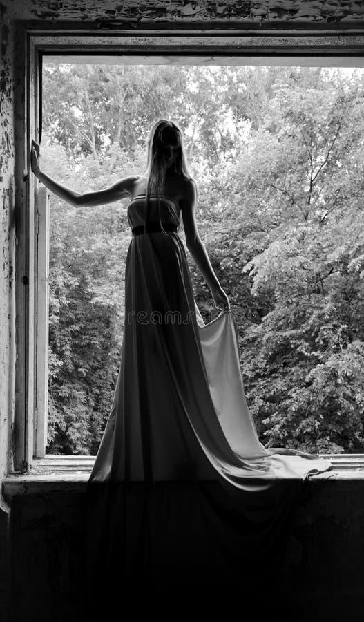elegant lång tunn kvinna för klänning arkivbilder