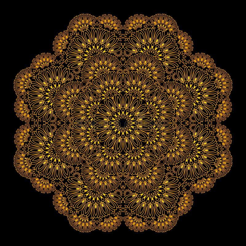 Elegant lace table napkin with popular ornament done in kaleidoscopic style. Printable modern mandala on black background. stock illustration