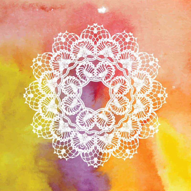 Elegant lacy doily Virkningmandala royaltyfri illustrationer