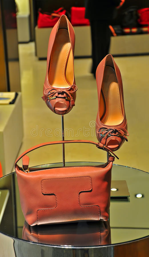 Elegant ladies shoes and handbag stock photo