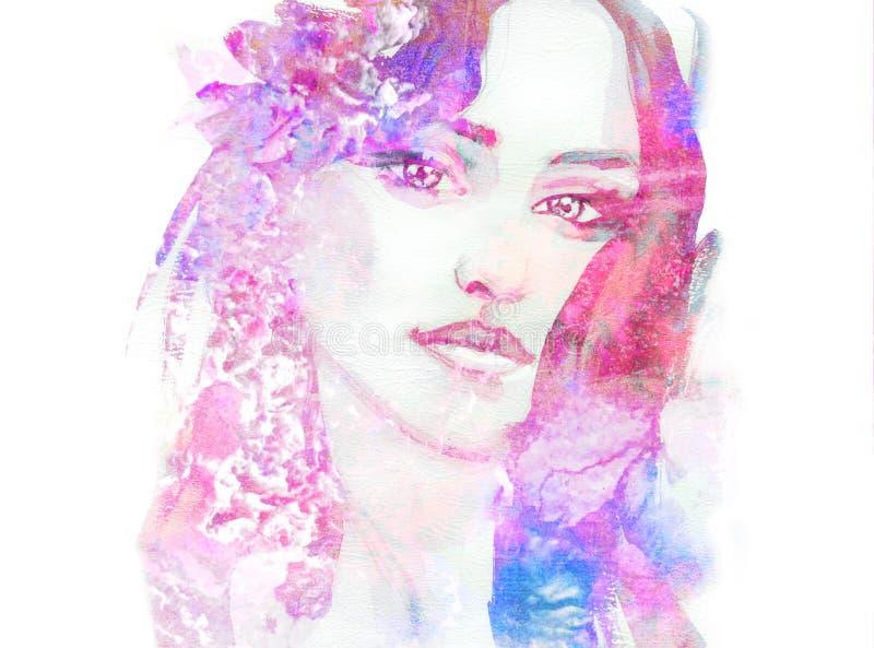 Hand painted fashion illustration. Portrait of beautiful woman. stock illustration