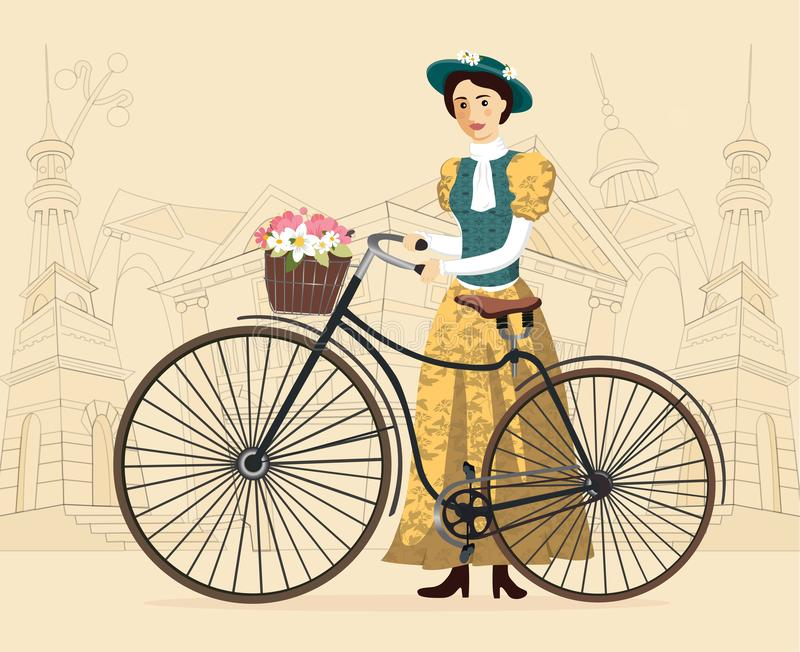 Elegant lady with hat in vintage costume on a old bicycle vector Illustration cityscape stock photos