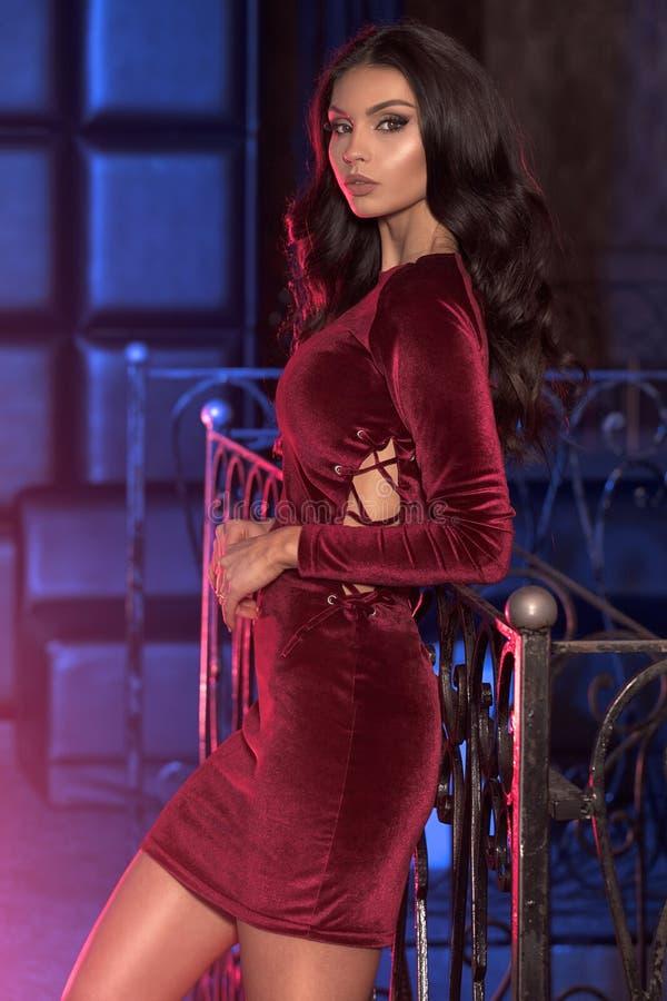 Elegant lady in fashionable mini dress. royalty free stock images