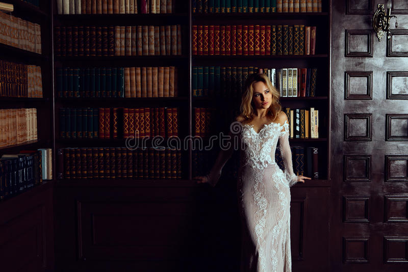 Elegant lady wearing evening dress in the old vintage library. Beauty, fashion. stock photography