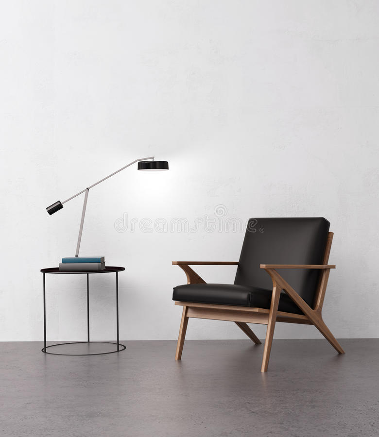 Download Elegant Leather Armchair With A Side Table Stock Image - Image of bedroom, apartment: 60925609