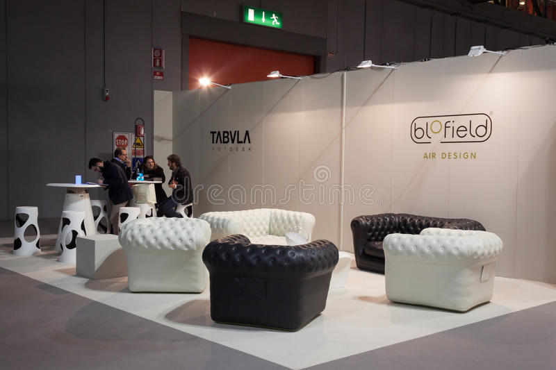 Elegant leather sofas on display at HOMI, home international show in Milan, Italy. MILAN, ITALY - JANUARY 20: Elegant leather sofas on display at HOMI, home stock photography